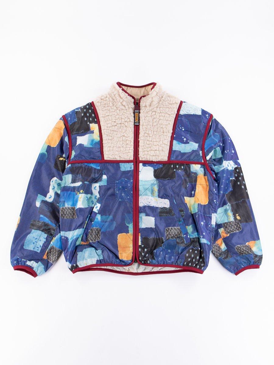 Navy Boro Print Nylon/Boa Fleece Disco Bib Blouson