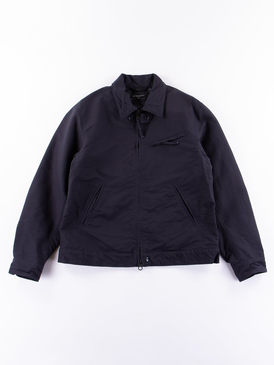 Dark Navy Cotton Double Cloth Driver Jacket