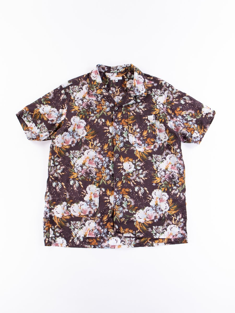 Dark Navy Botany Printed Lawn Camp Shirt