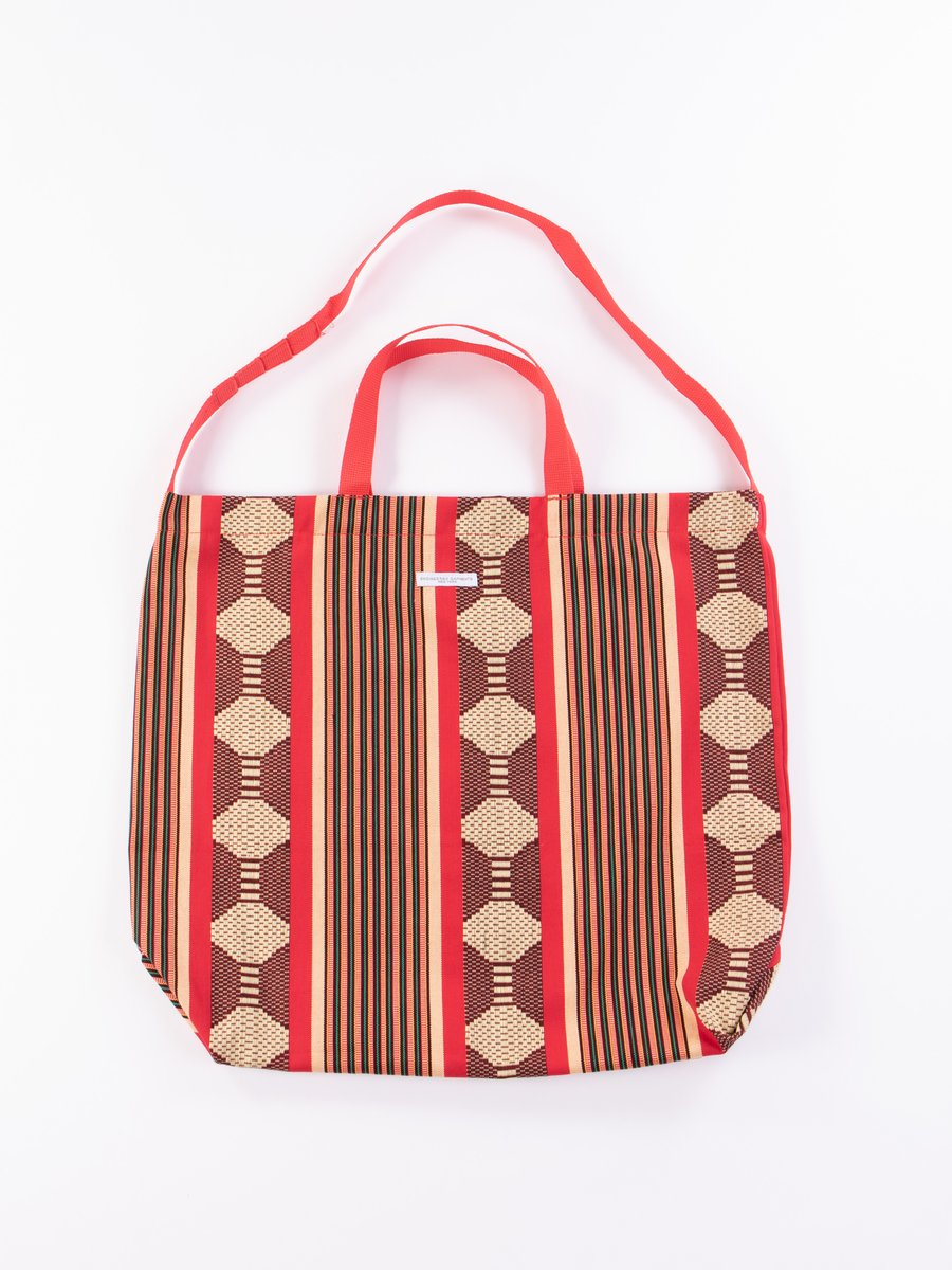 Red Ethnic Jacquard Stripe Carry All Tote