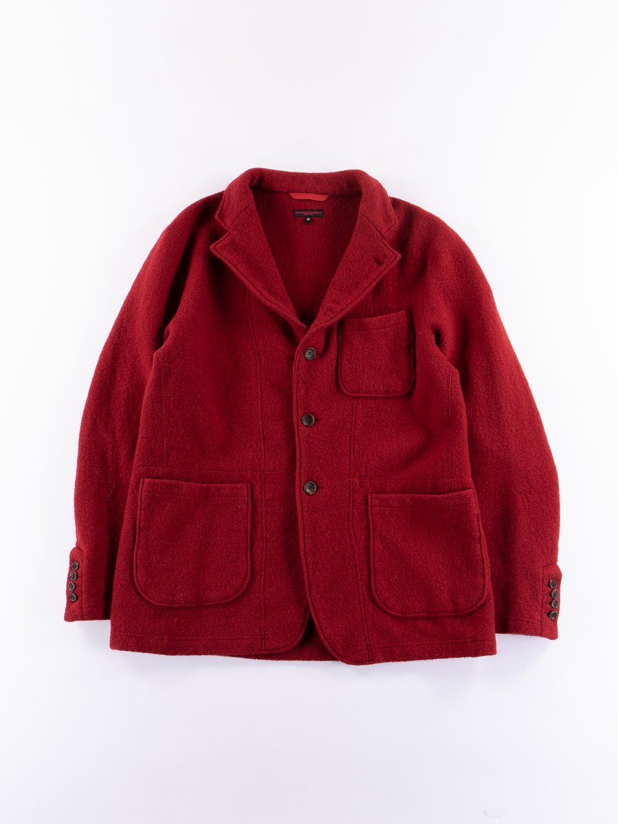 Red Boiled Wool Knit Jacket