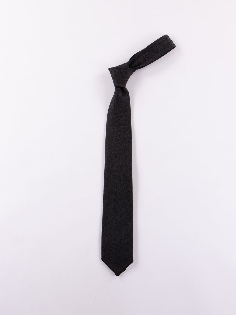 Charcoal Heather Worsted Wool Flannel Neck Tie