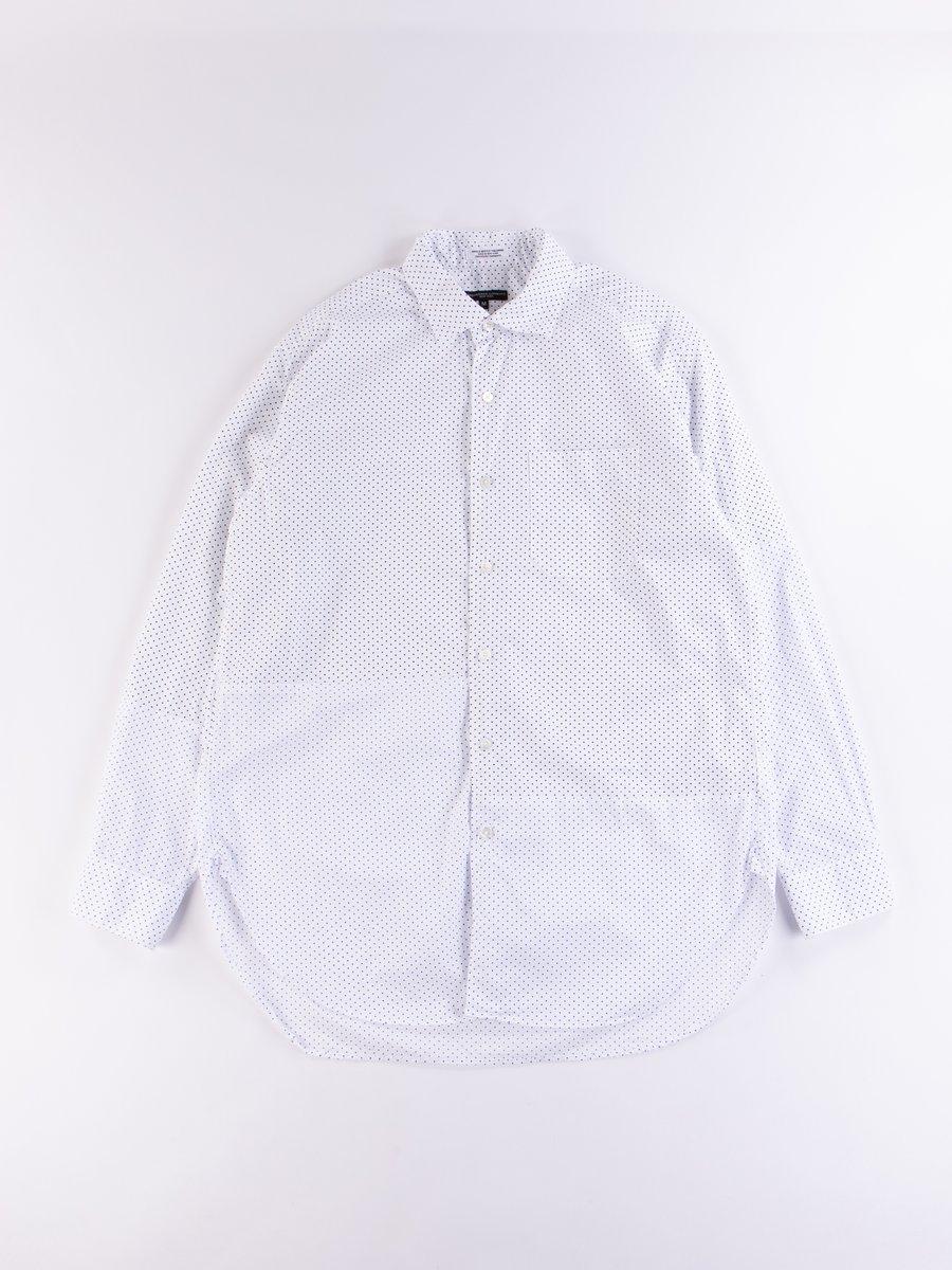 White/Navy Cotton Micro Polka Dot Broadcloth Spread Collar Shirt