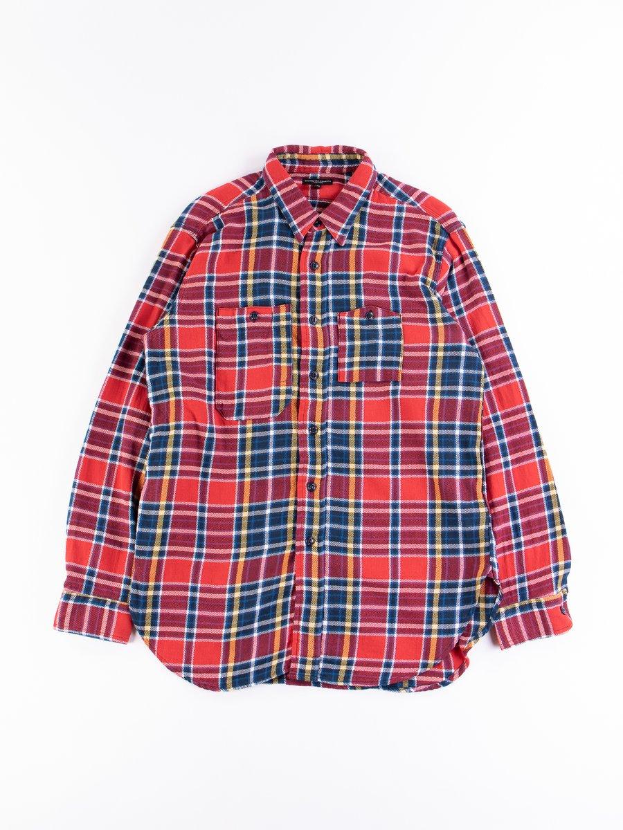 Red/Navy Cotton Twill Plaid Work Shirt