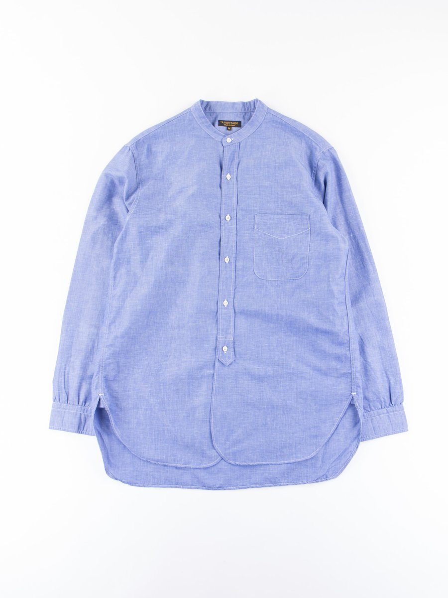 Blue End on End Banded Collar Shirt
