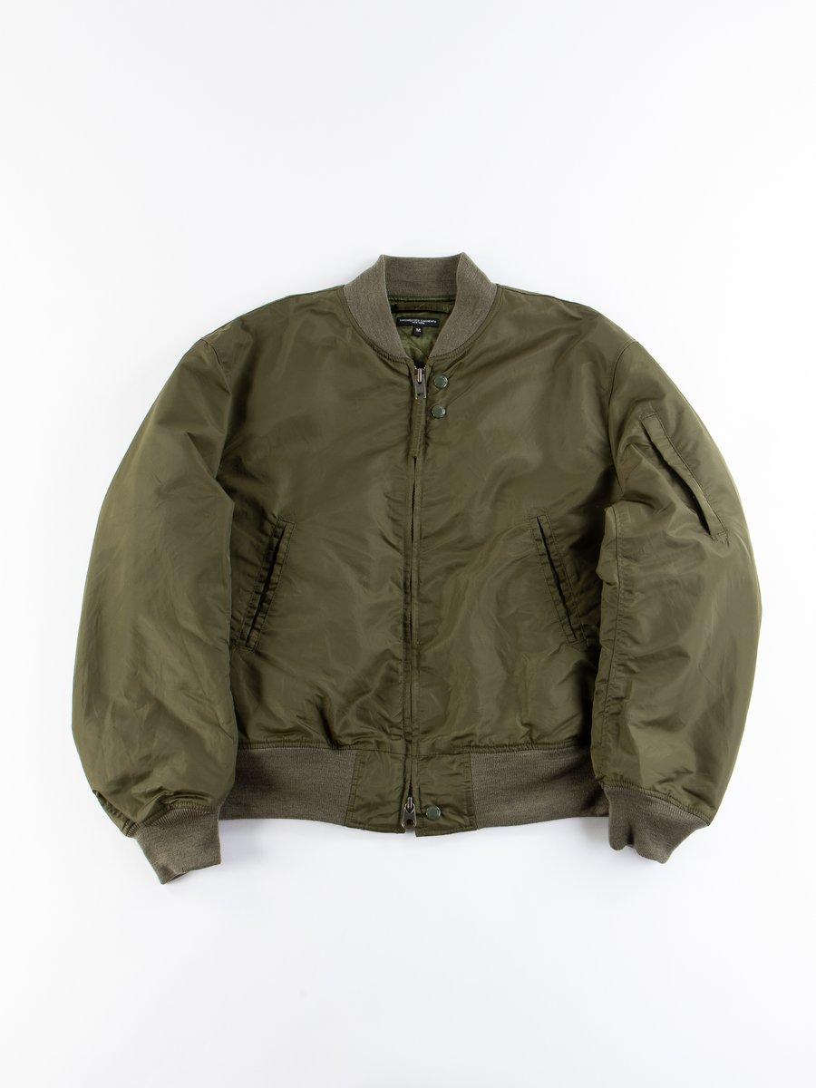 Olive Flight Satin Nylon Aviator Jacket