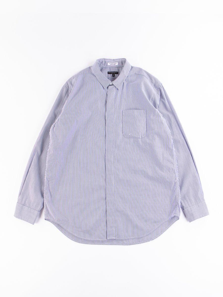 Navy/White Cotton Narrow Stripe Short Collar Shirt