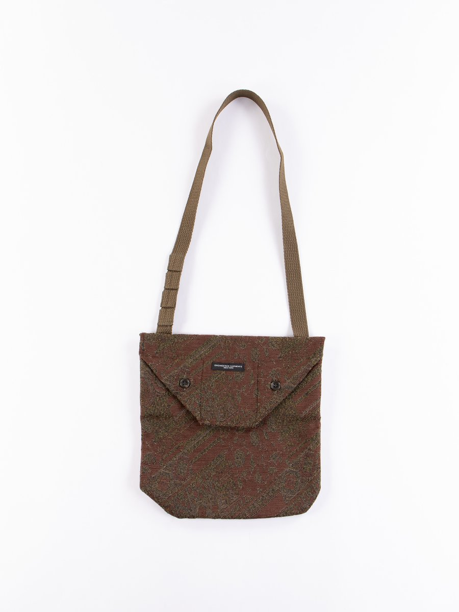 Olive/Brown Chenille Shoulder Pouch