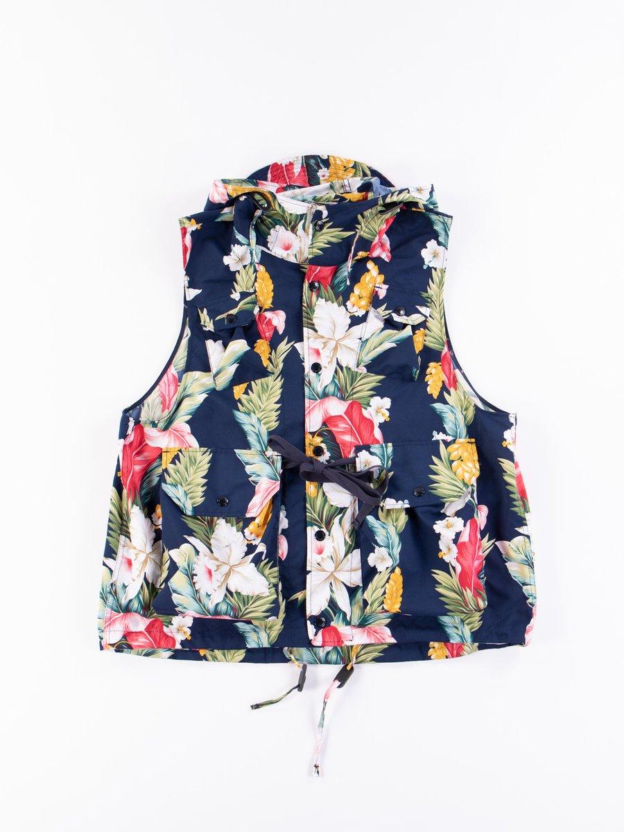 Navy Hawaiian Floral Microfiber Field Vest