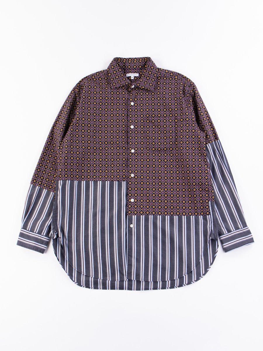 Navy Floral Foulard Print Spread Collar Shirt