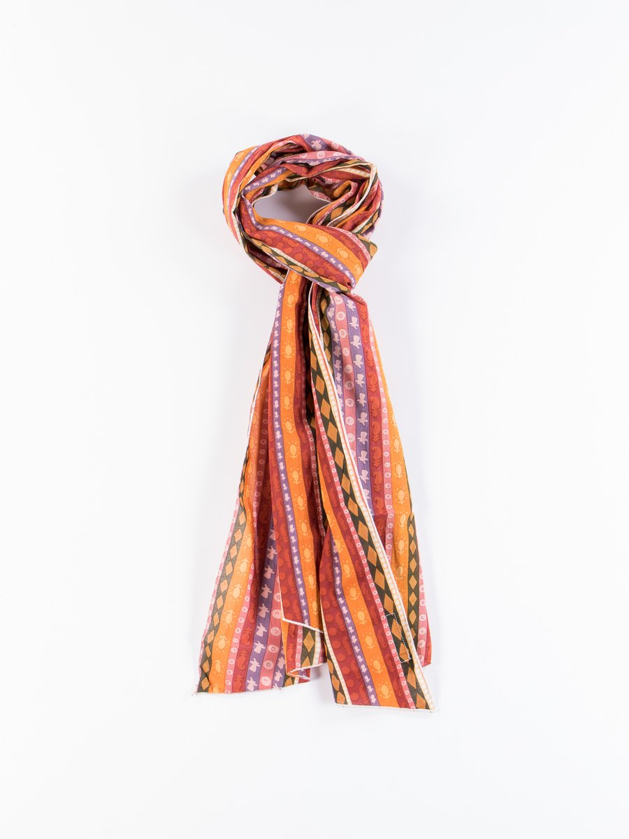 Orange Cotton Lawn Batik Long Scarf