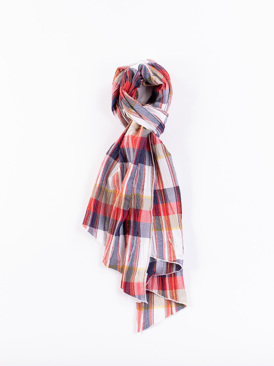 Red/White Cotton Crepe Check Long Scarf