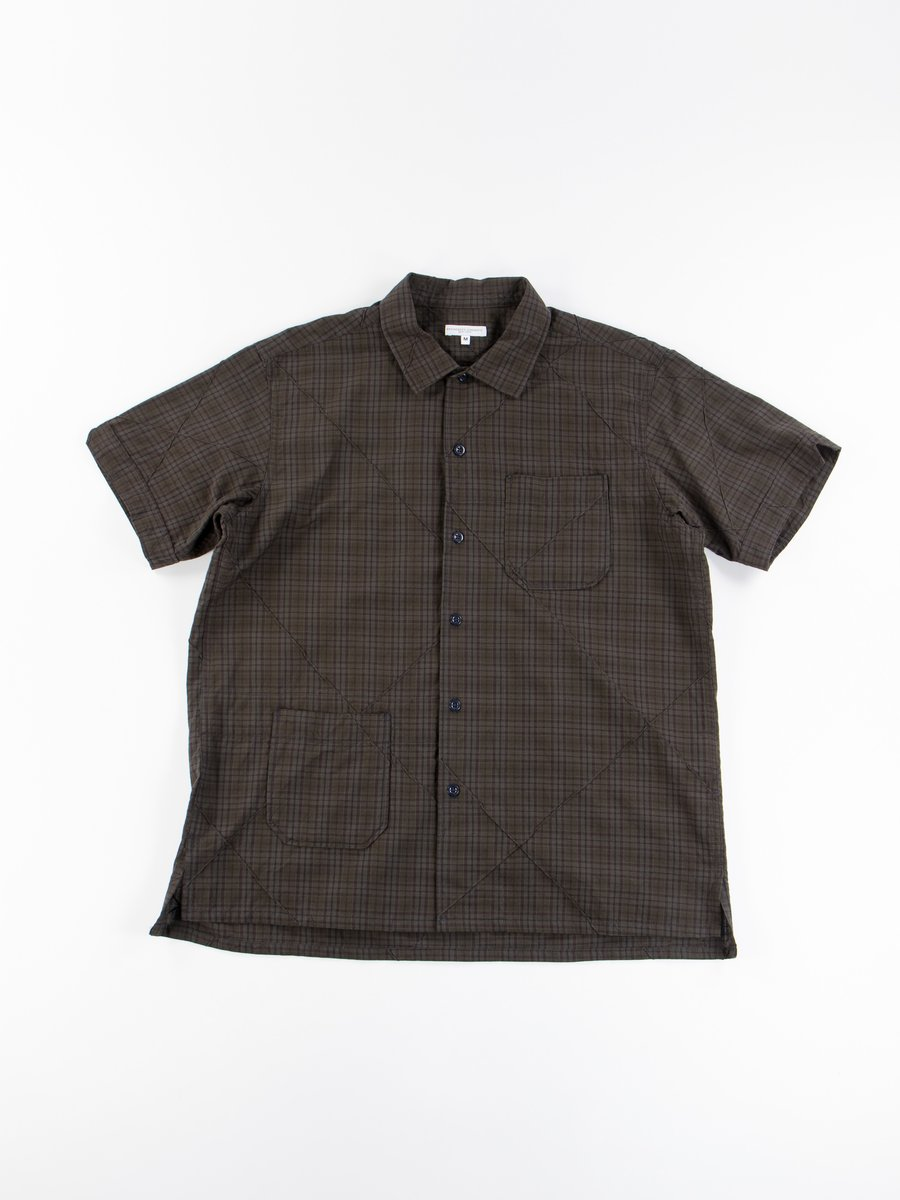 Dark Olive Cotton Pintuck Small Plaid Camp Shirt