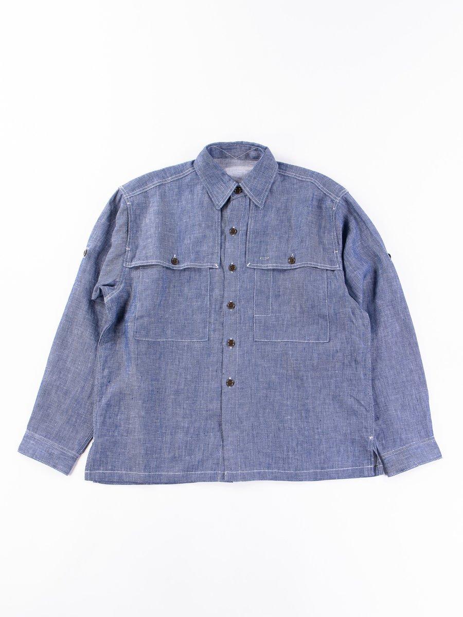 Blue Linen Serge Field Shirt Exclusive