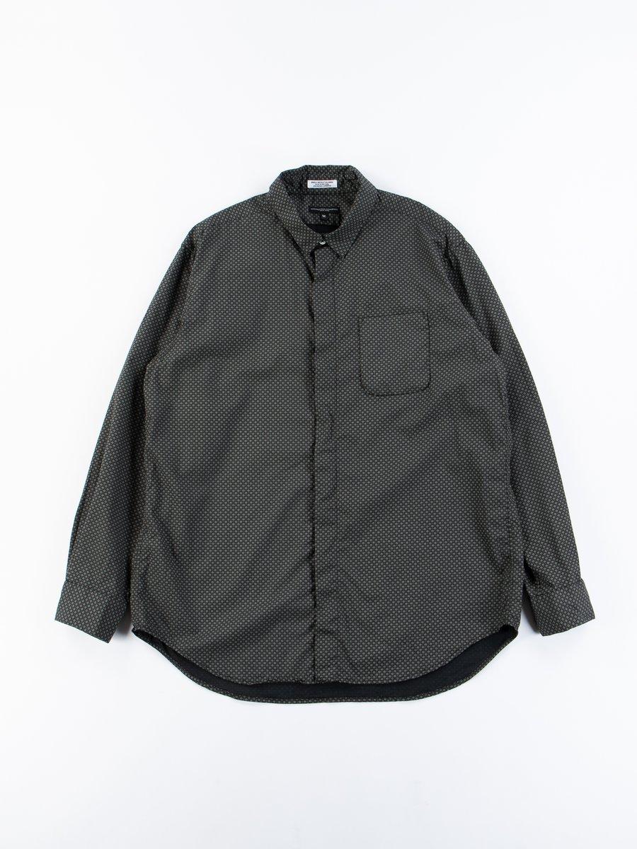 Black Cotton Mini Foulard Short Collar Shirt