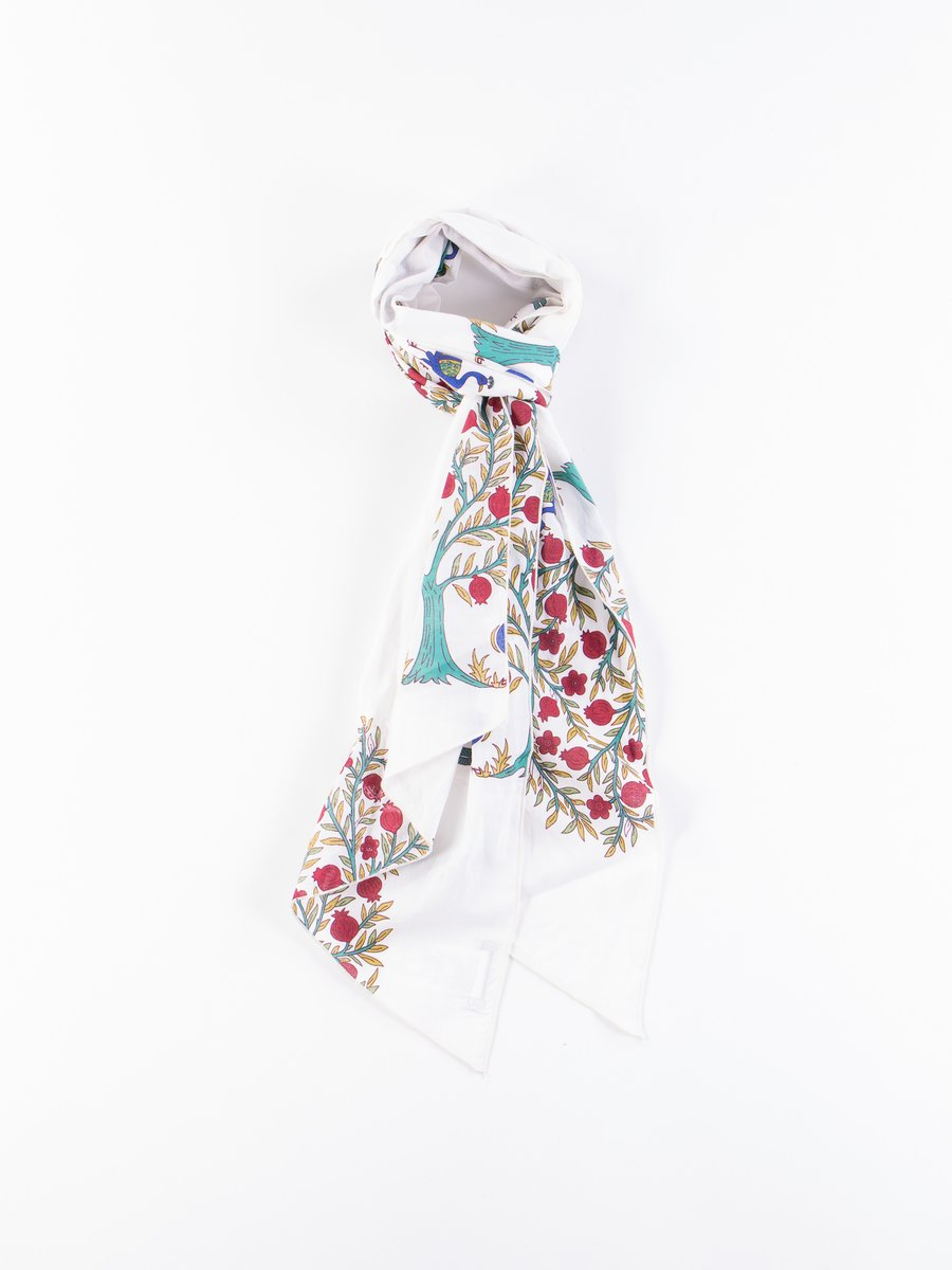 Natural Cotton Lawn Peacock Print Long Scarf