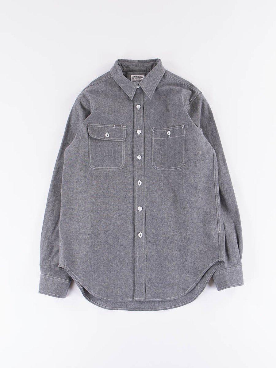 Indigo Heavy Cotton Chambray Utility Shirt