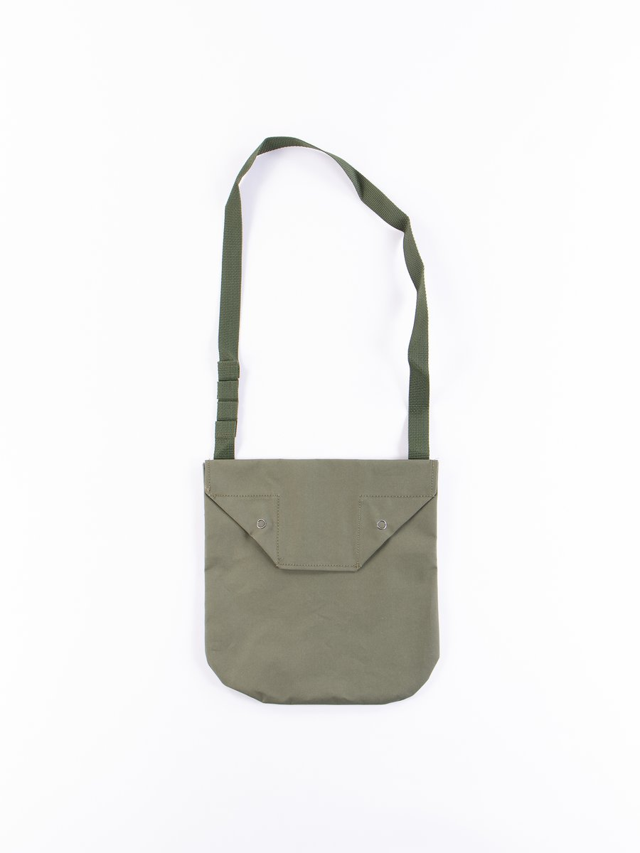 Olive Acrylic Coated Cotton Shoulder Pouch