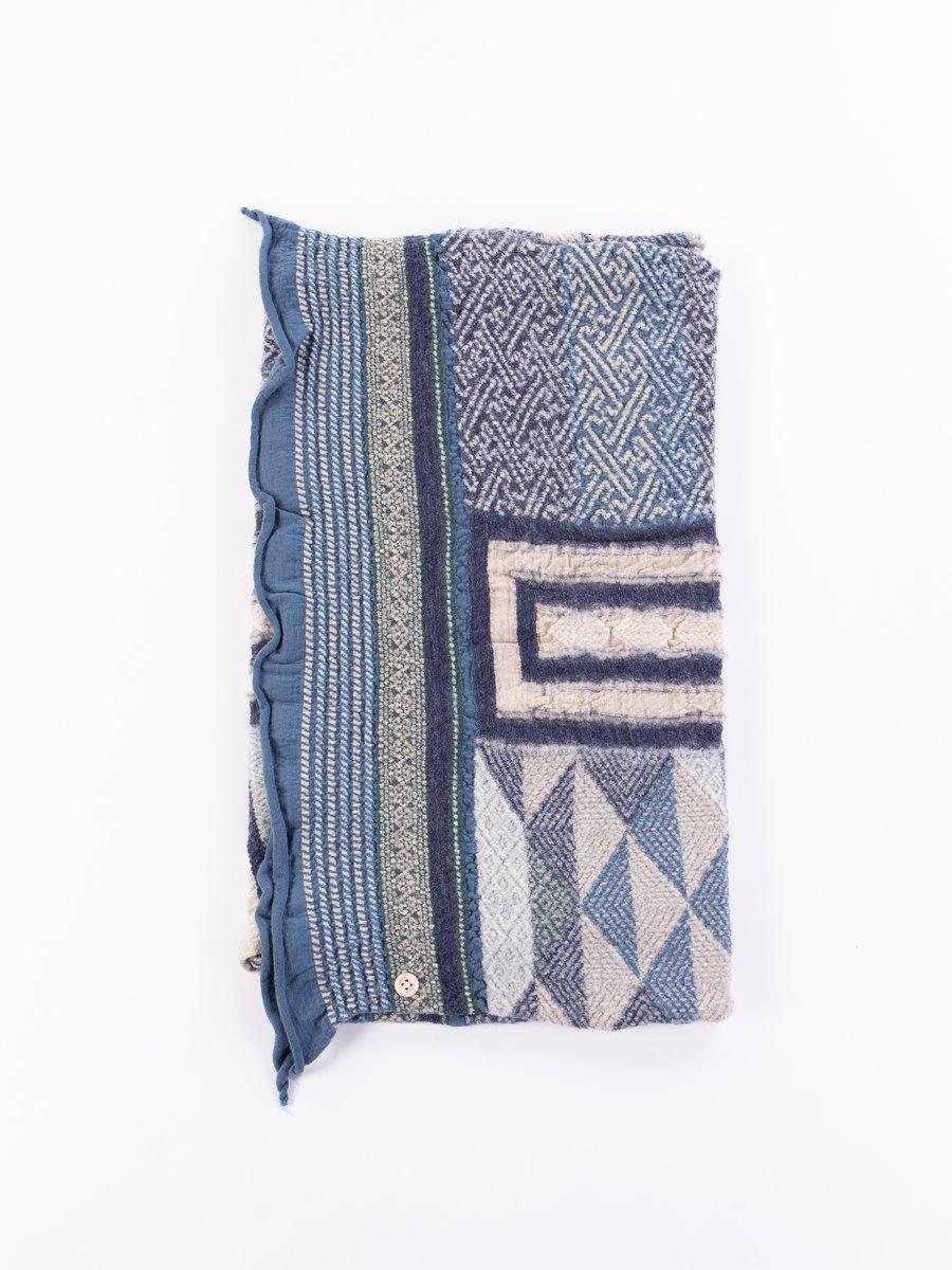 Navy Tweed Kogin Cross Compressed Wool Scarf