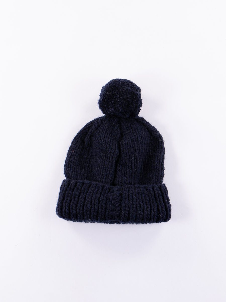 Dark Navy Double Cuff Thick Solid Cap