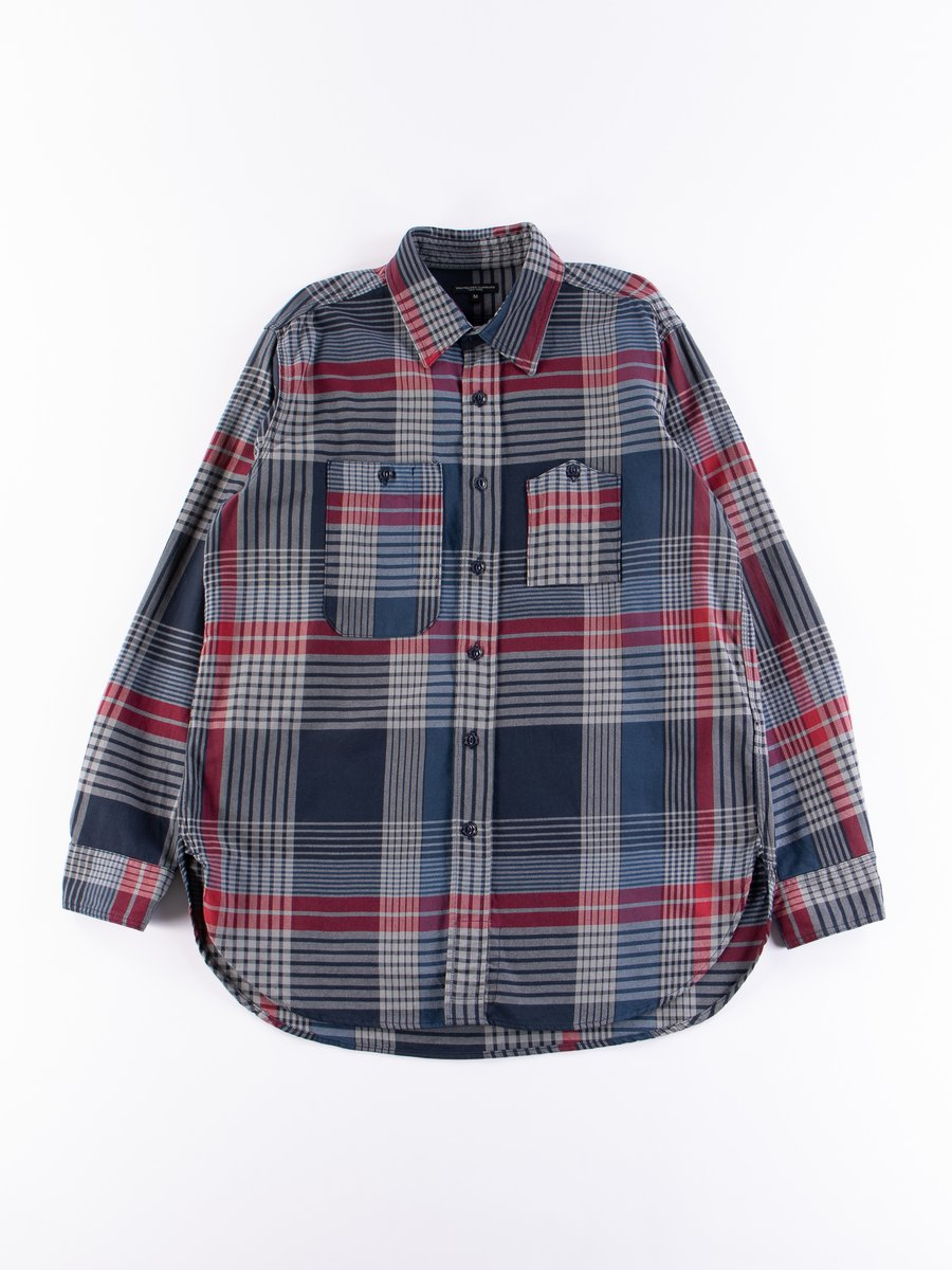 Navy/Grey/Red Cotton Twill Plaid Work Shirt