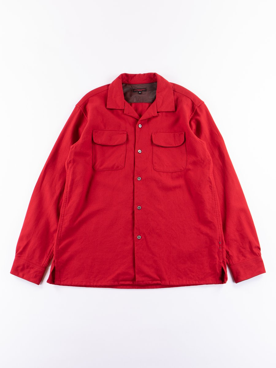 Red Worsted Wool Flannel Classic Shirt