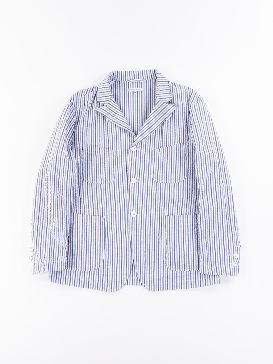 White/Navy Blue Seersucker Wide Stripe NB Jacket