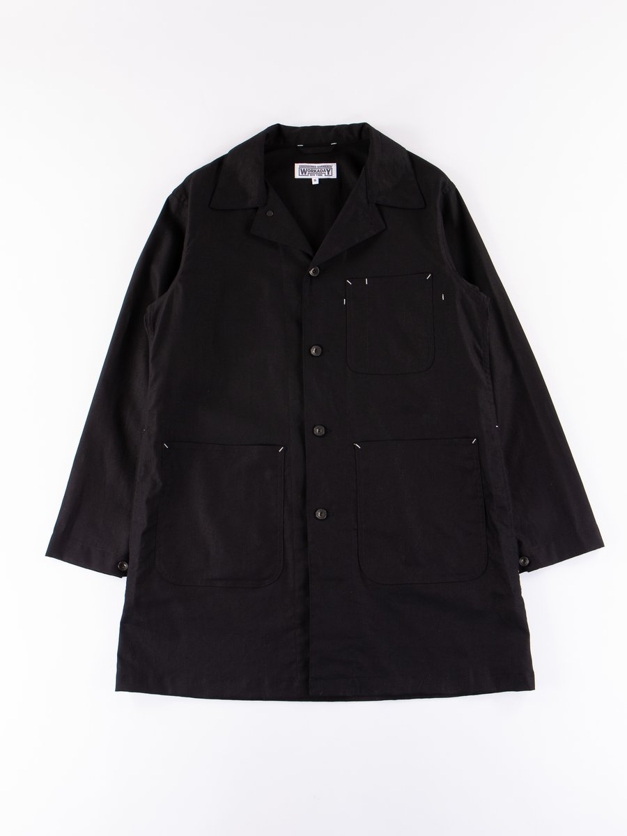 Black Cotton Linen Shop Coat