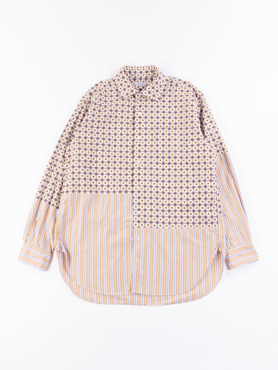 White Floral Foulard Print Spread Collar Shirt