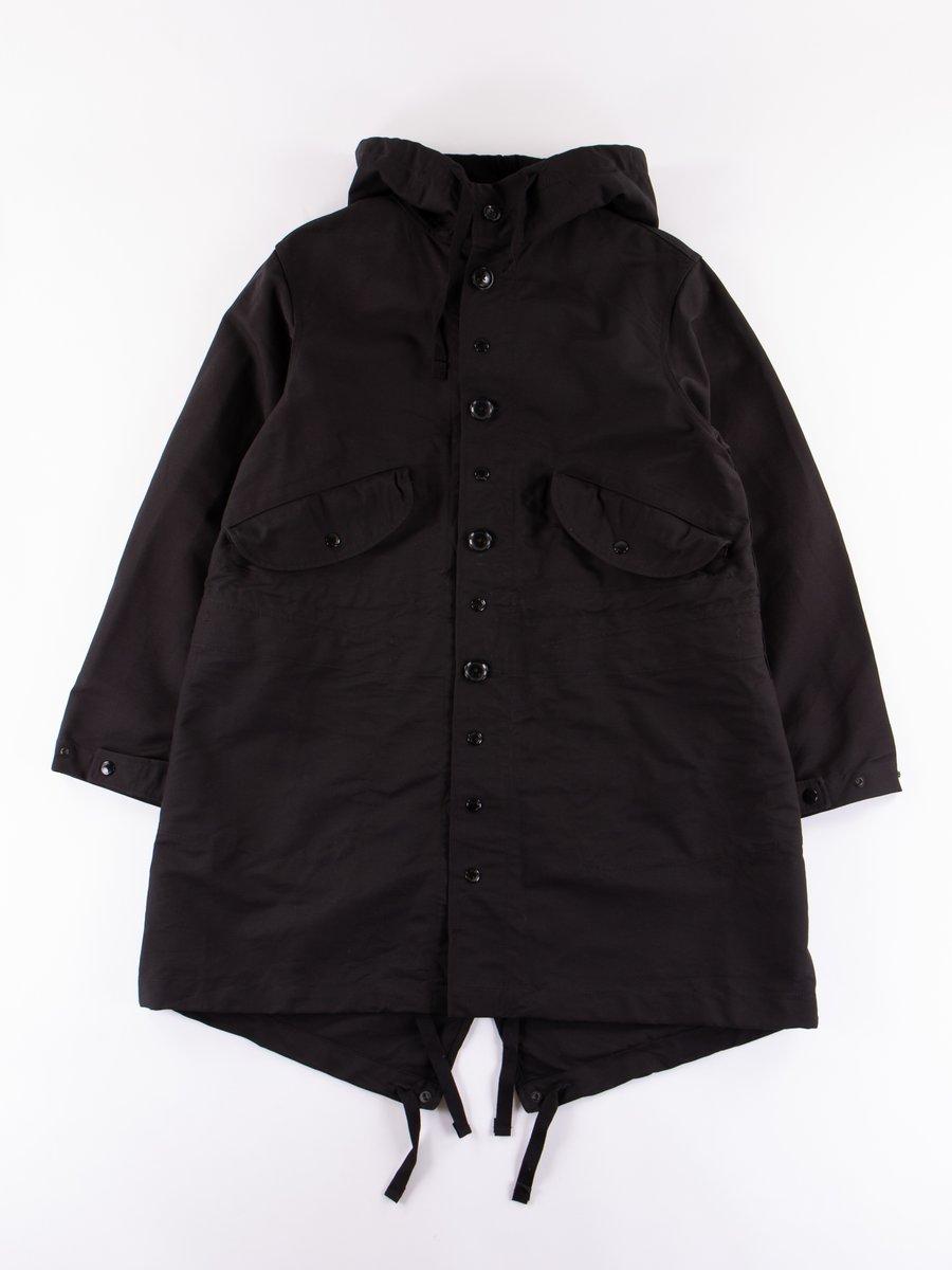 Black Cotton Double Cloth Highland Parka