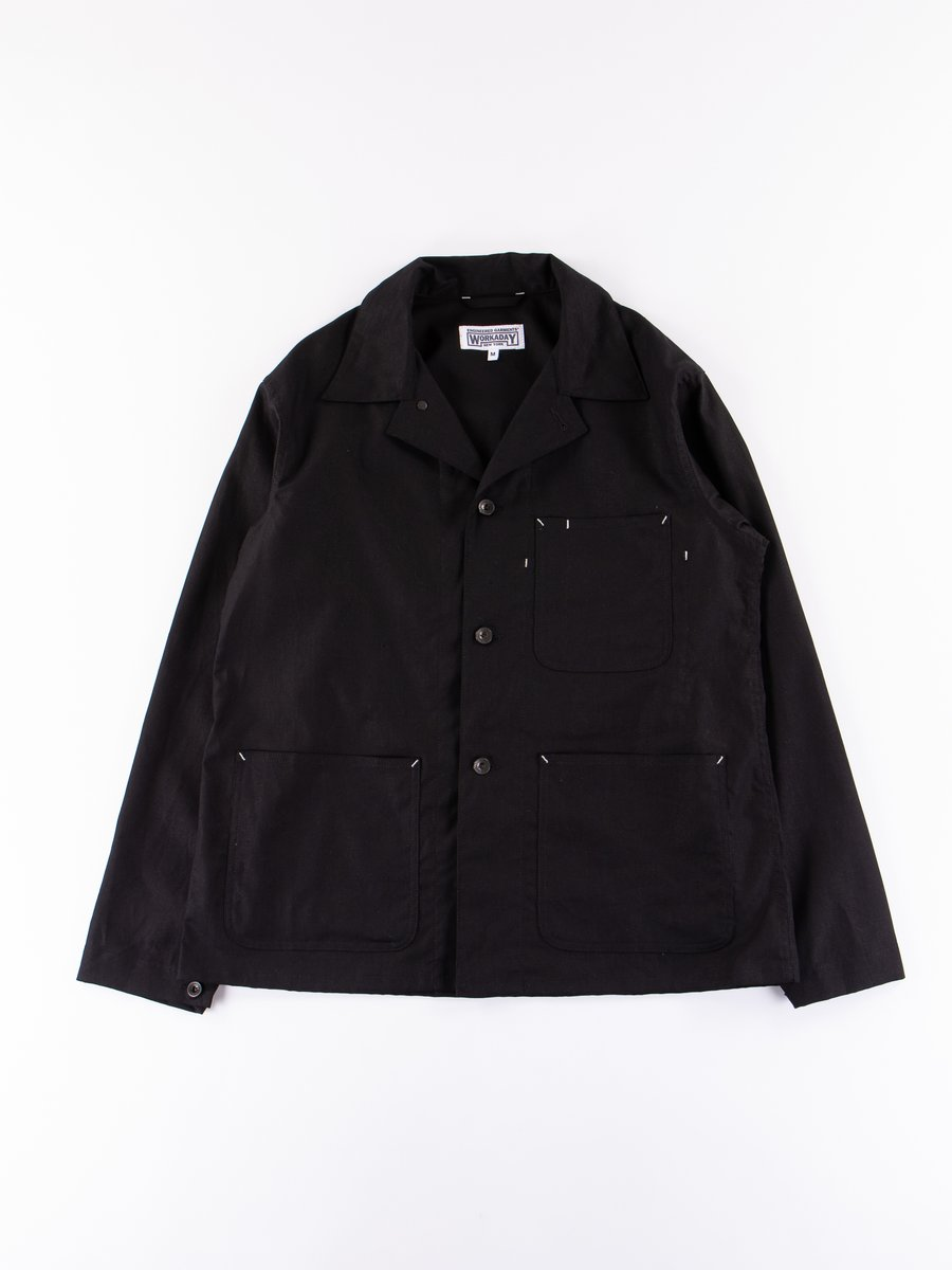Black Cotton Linen Utility Jacket
