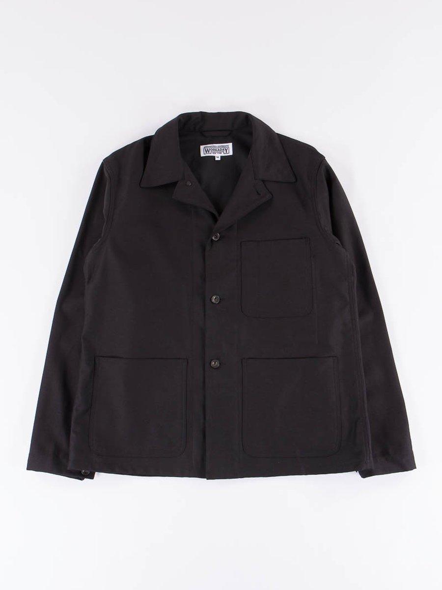 Black Reversed Sateen Utility Jacket