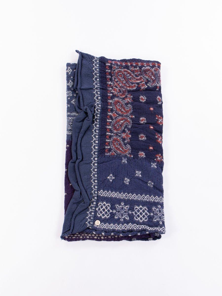 Navy Bandana Patchwork Compressed Wool Scarf