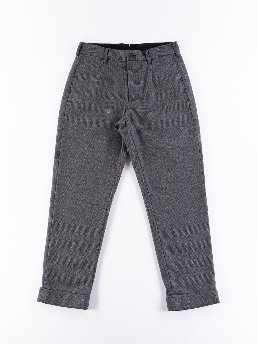 Grey Wool Glen Plaid Stripe Andover Pant
