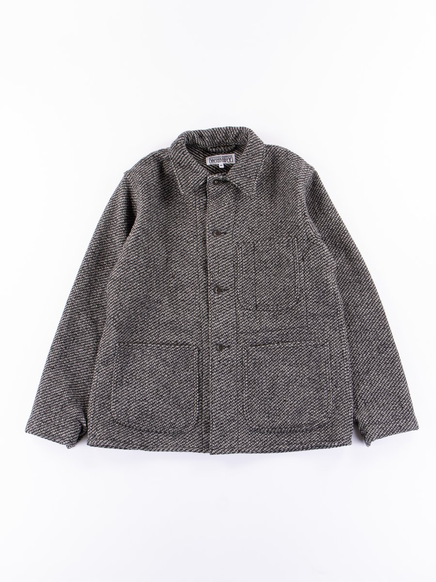 Grey Tri Blend Wool Tweed Utility Jacket