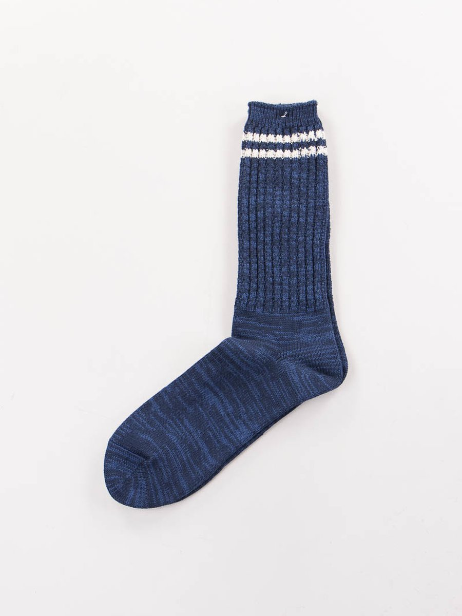 Navy 2 Stripe Crew Socks
