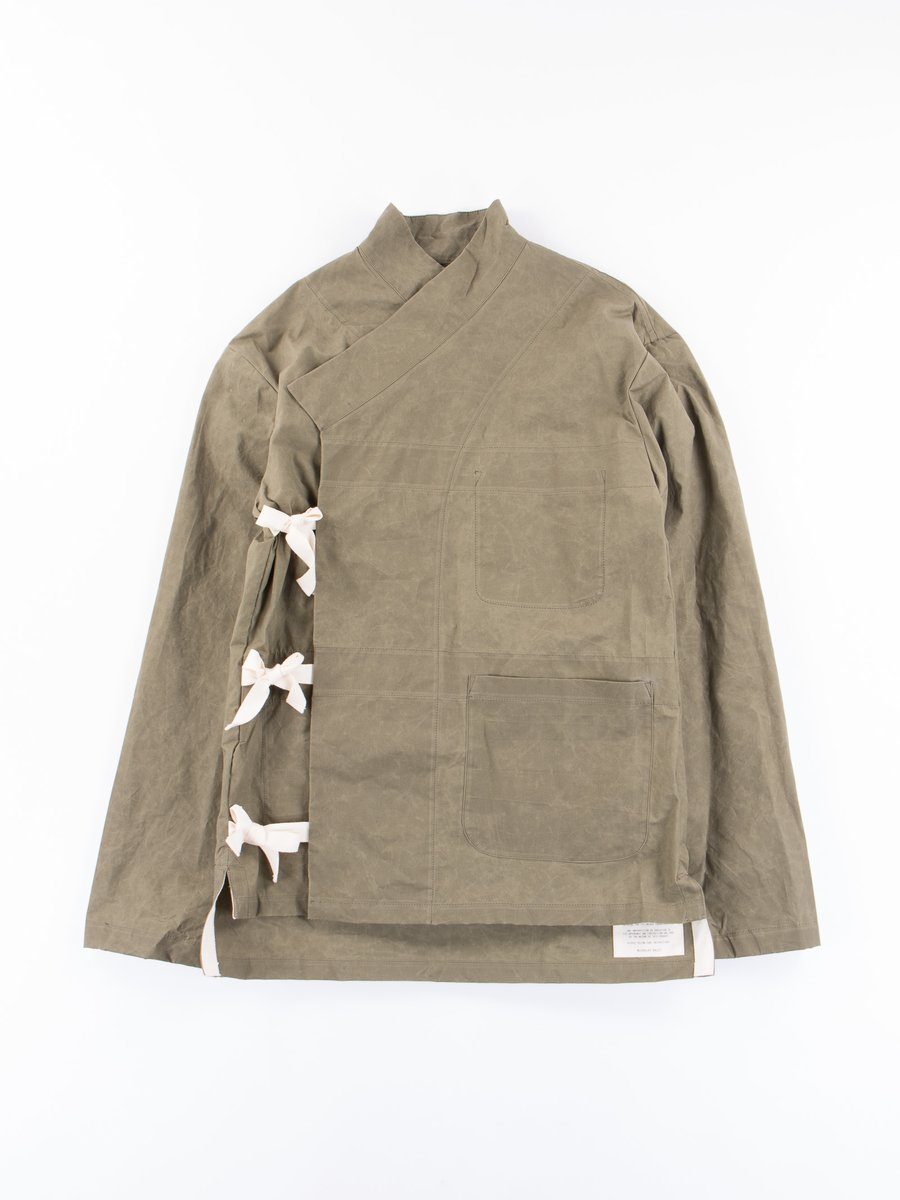 Green Waxed Cotton Wrap Jacket