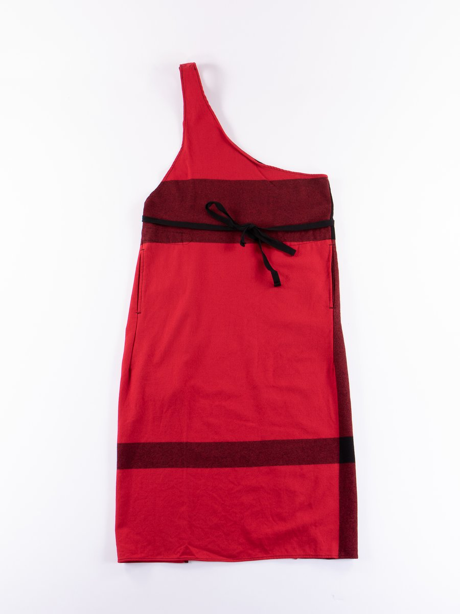 Red/Black Big Plaid Worsted Wool Flannel Butcher's Apron