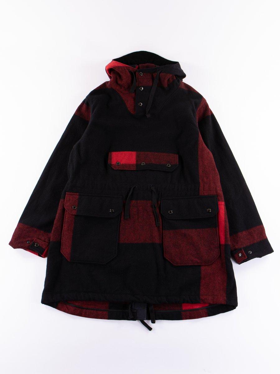 Black Big Plaid Wool Melton Over Parka