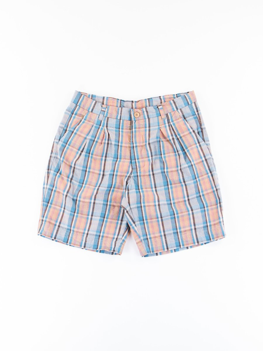 Blue/Orange Service Check Broadcloth Service Short