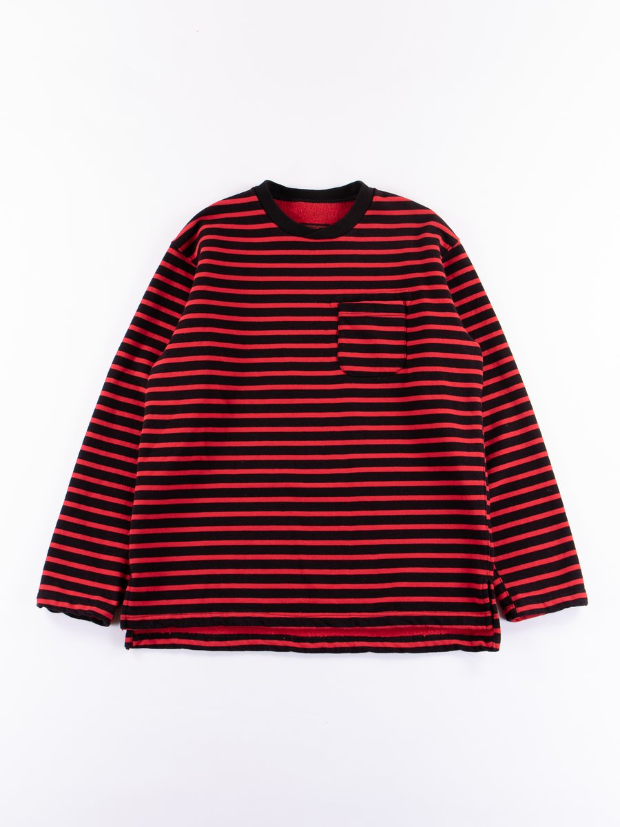 Black/Red Stripe 20oz French Terry Long Sleeve Crew Neck