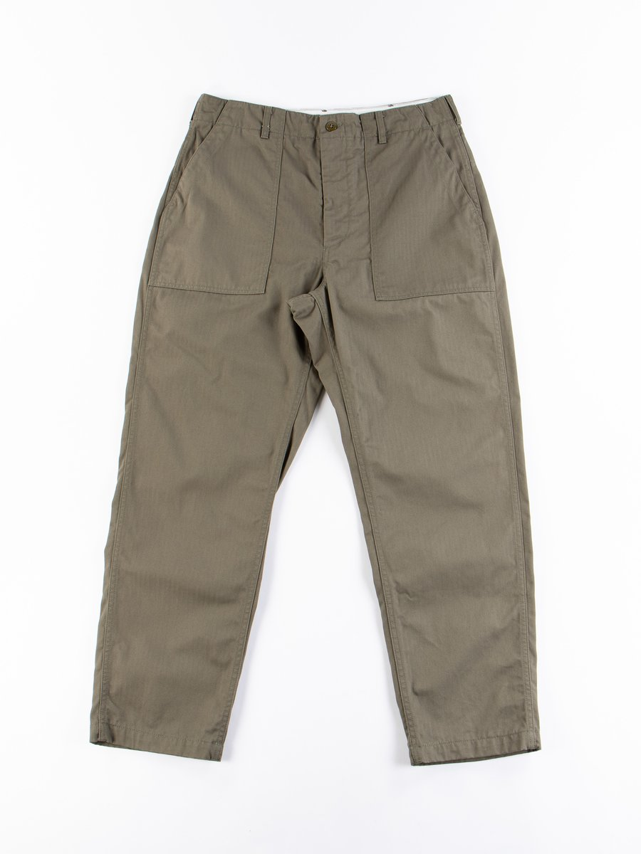 Olive Cotton Herringbone Twill Fatigue Pant