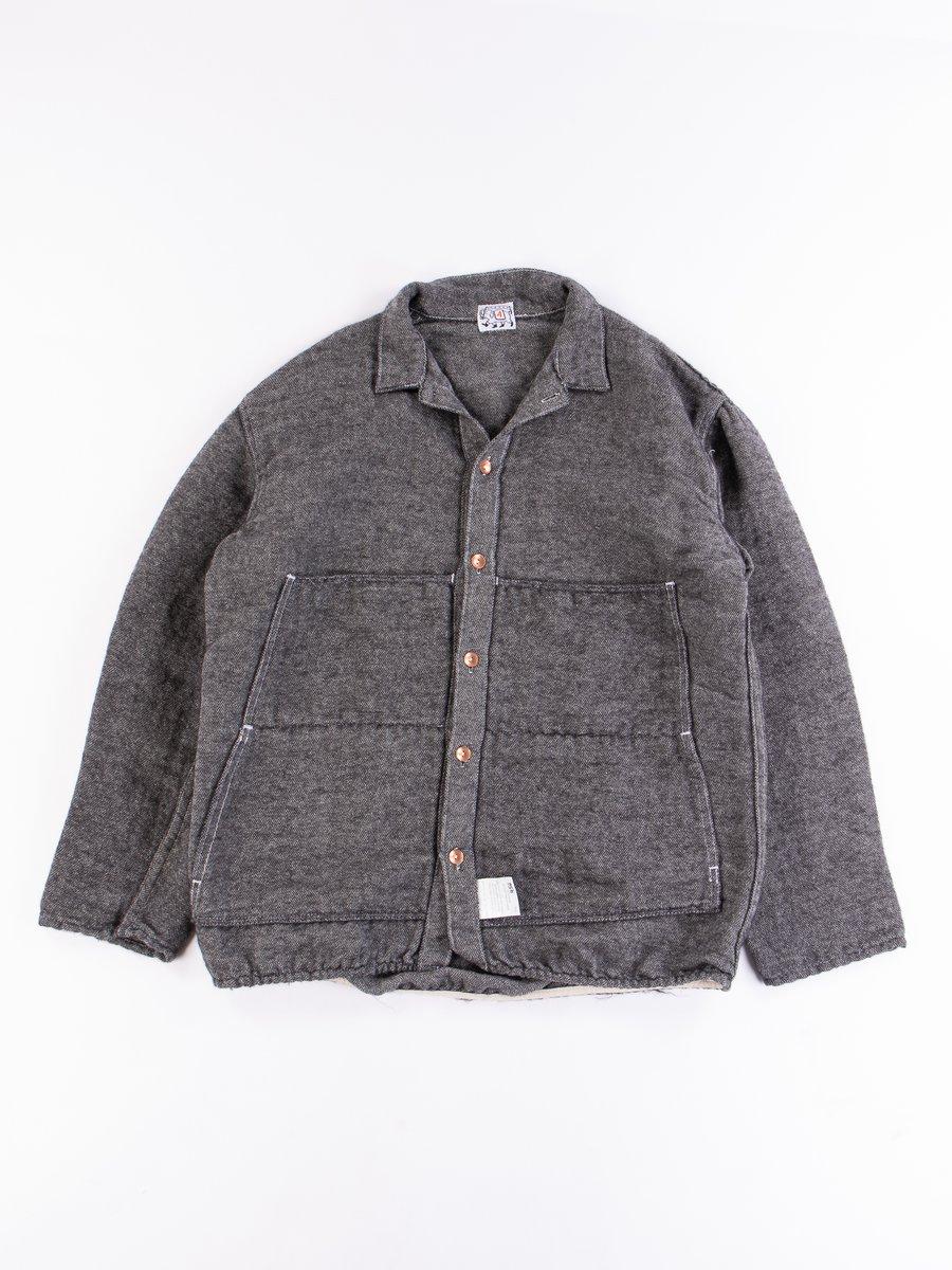 Ecru/Black Cotton/Mohair Shag Janus Shirt