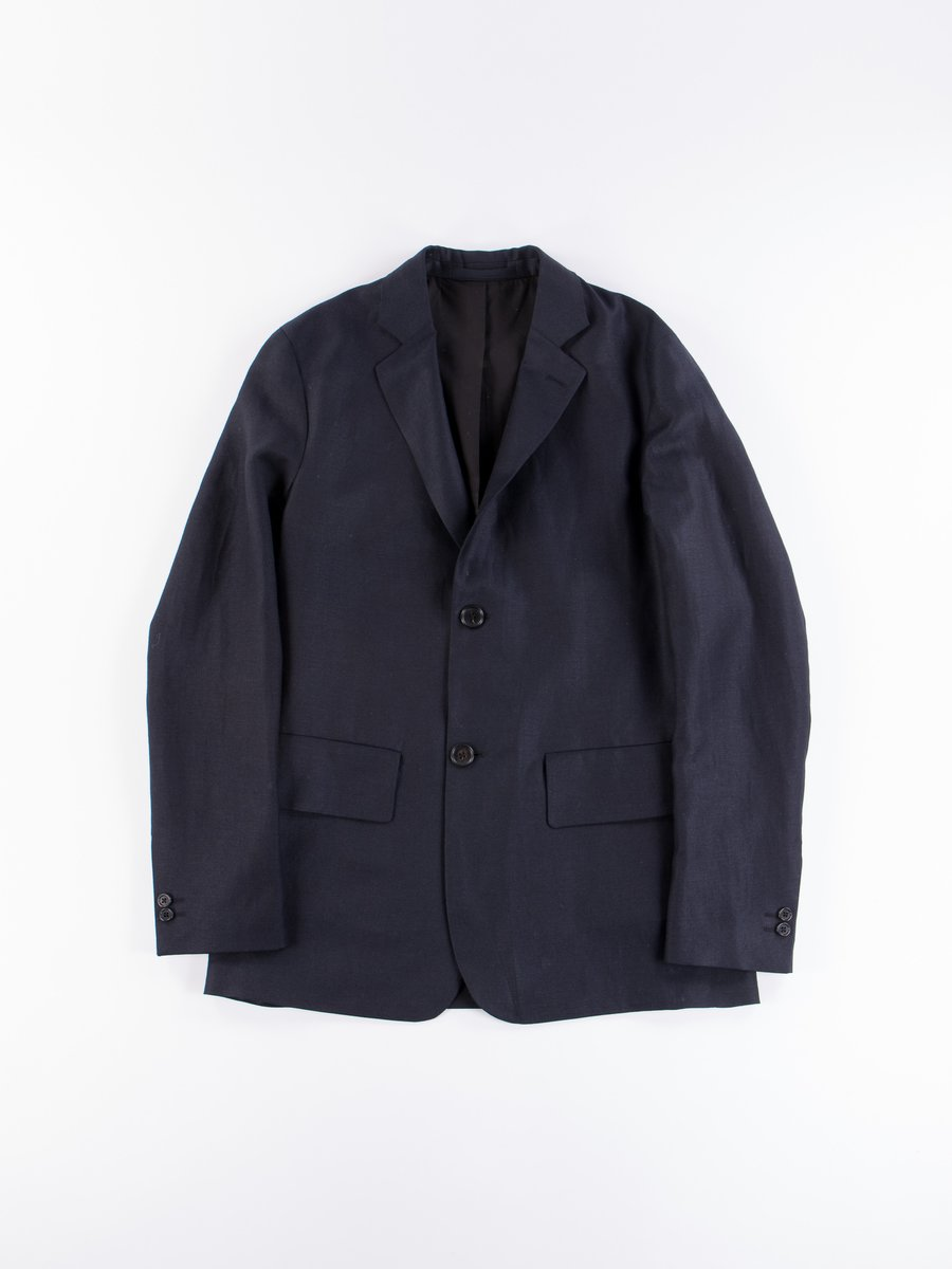 Midnight Dense Wool/Linen Twill Wide Wrap Blazer