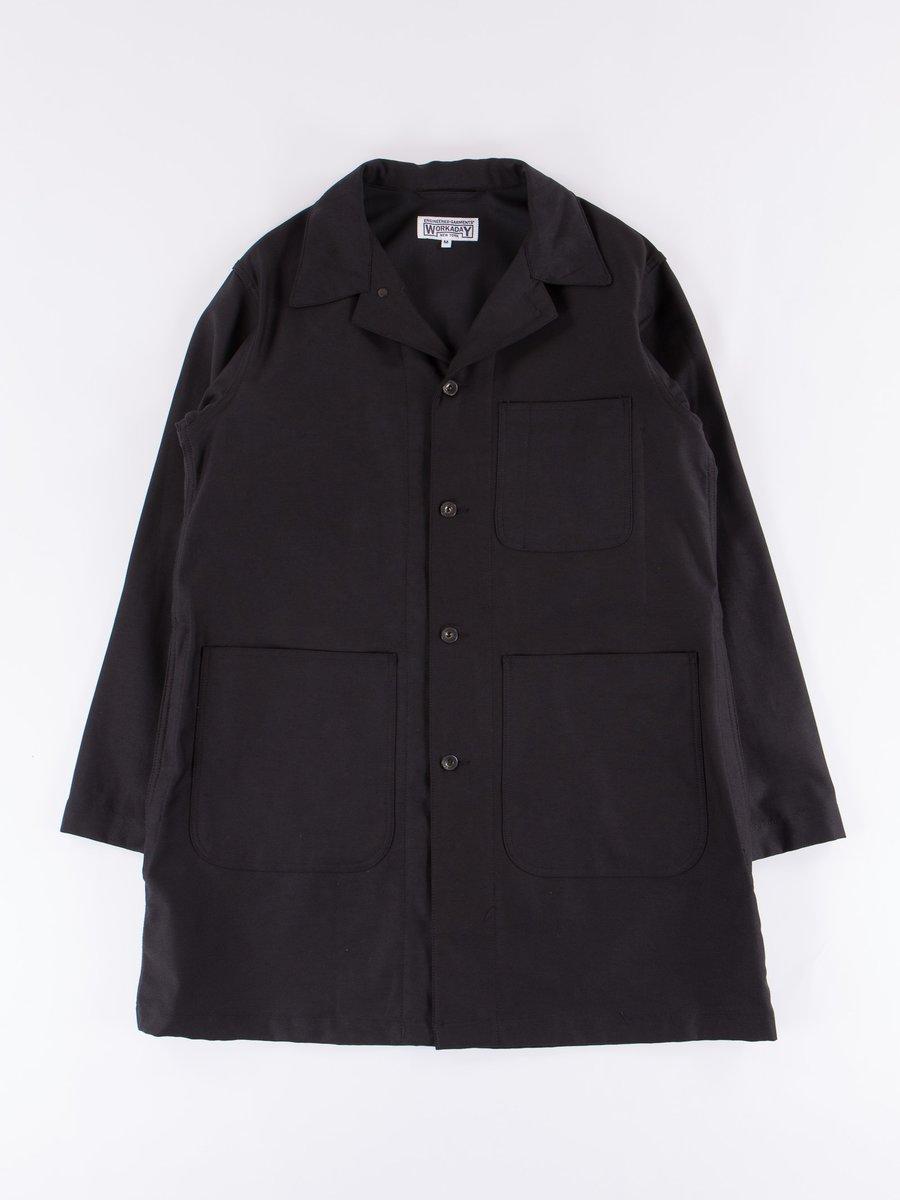 Black Reversed Sateen Shop Coat