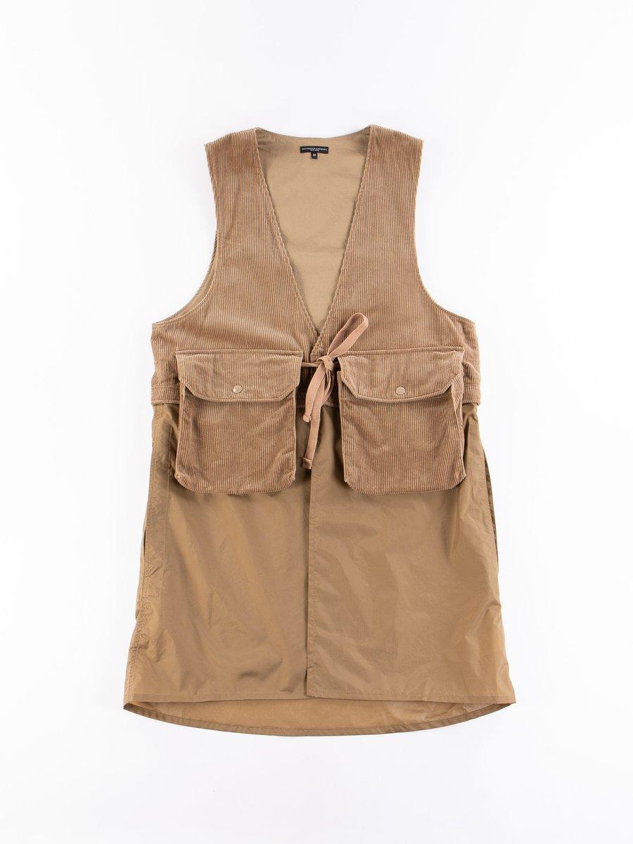 Khaki 8W Corduroy Long Fowl Vest