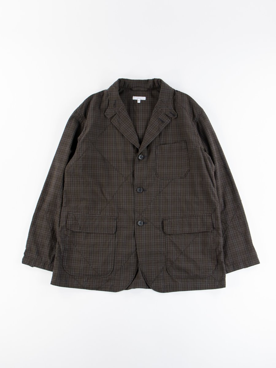 Dark Olive Cotton Pintuck Small Plaid Loiter Jacket