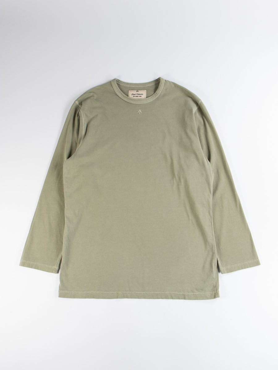 Washed Army Embroidered Arrow Long Sleeve T–Shirt