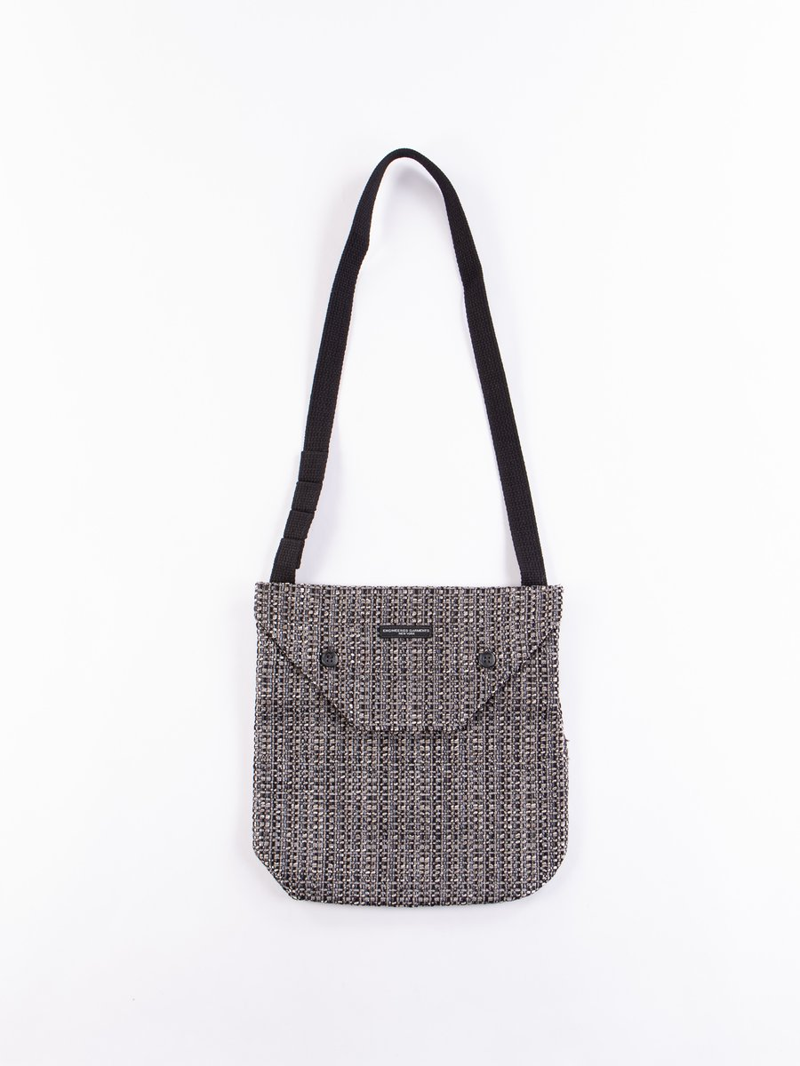 Grey/Black PC Faux Tweed Shoulder Pouch