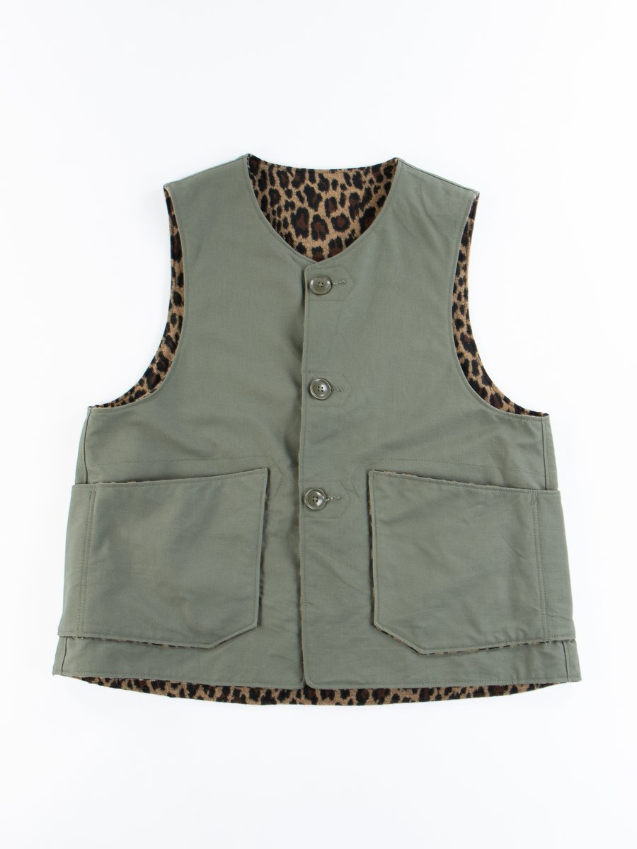 Olive Cotton Double Cloth Over Vest